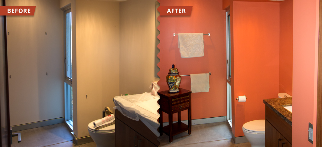Interior painting of a washroom bring brilliant slash of orange to living up the atmosphere