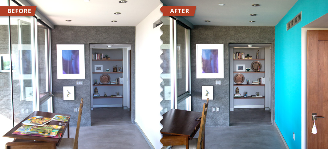 An Example of our interior painting work which adds an accent wall to brightens the atmosphere