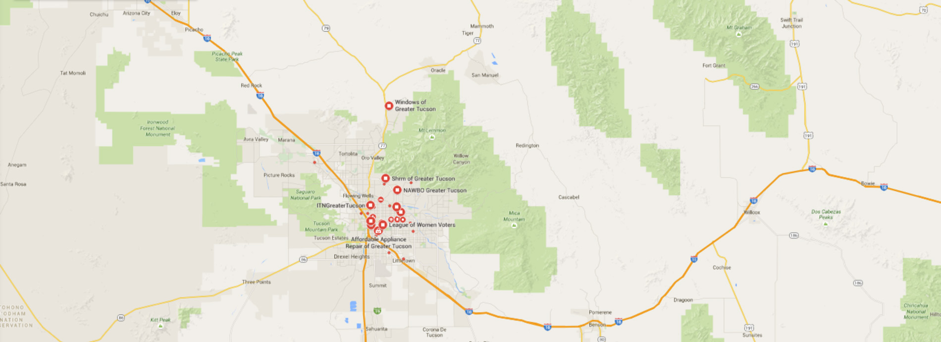Map of Greater Tucson